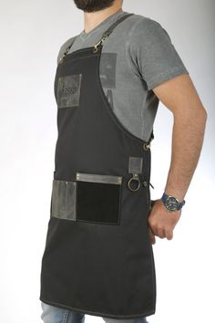 Handmade apron for barista and bartender made by top quality fabrics and genuine leather. Tying: Crosswise detachable leather suspenders, leather waistband in the same color as the leather pockets of the apron, whose length can be increased or decreased and adjusted to body type,