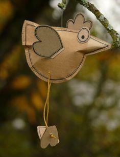 Paper bird ~ sewed and stuffed