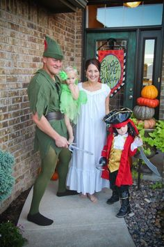 Peter Pan, Wendy, Hook and Tinkerbell family costume idea. @Jessica Iarussi You guys should totally do this!