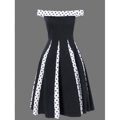 Polka Dot Trim Fit and Flare Dress, BLACK, M in Vintage Dresses | DressLily.com