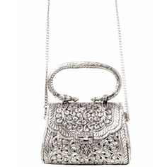 Urbiana Petite Silver Evening Bag ($130) ❤ liked on Polyvore featuring bags, handbags, white bag, evening handbags, chain handle purses, chain bag and snap bag