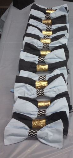 Lil man bow tie baby shower. Blue, black and gold.