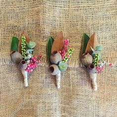Autumn Wedding Ideas Australian native buttonholes made for a recent wedding by a current Cert III student Beach Wedding Flowers, Flower Bouquet Wedding, Floral Wedding, Protea Wedding, Wedding Simple, Wedding Ideas, Wedding Decorations, Bush Wedding, Wedding Rsvp