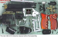 BLADE RUNNER - Parts used in the final assembly of a PKD Blaster, which include stock firearm parts with custom housings, grips, LEDs and various greebles.