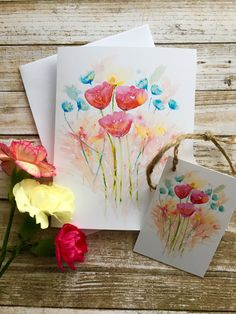 Watercolour blooms greeting card and matching gift tag  Great for any occasion Watercolor Cards, Floral Watercolor, Watercolour, Matching Gifts, Sell On Etsy, White Envelopes, Note Cards, I Card, Gift Tags