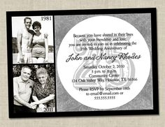 25th Wedding Anniversary Party Ideas | 25th Anniversary Invitation Silver Wedding Anniversary Party Invite