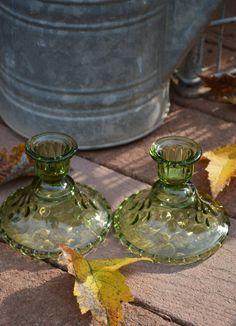 Hazel Atlas El Dorado Taper Candle Holders-Avocado Green by TwinsTreasureTrove on Etsy