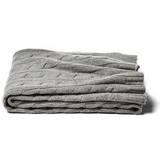 Cable-Knit Cashmere-Blend Throw Gray Throws ($219) ❤ liked on Polyvore featuring home, bed & bath, bedding, blankets, heather gray, gray throw, cashmere blanket throw, grey blanket, cashmere throw and grey cable knit blanket