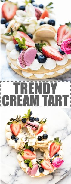 Cream Tart Recipe - New Cake Trend layers of shortbread cookie dough with cream cheese whipped cream. Topped with berries, macarons and flowers. Beautiful, elegant dessert,easy to make and inexpensive. Great for parties, birthdays, baby and bridal showers. These cream tarts are also called cream cakes, cake tarts, tart cakes, cream biscuits, open cookie and cream cakes. #creamtart #creampastry #adiklinghofer #trendycreamtart #trendycake via @cookinglsl