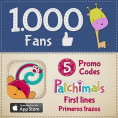 We've reached 1000 fans on Facebook!  To celebrate, we are giving away 5 #promocodes for our app Patchimals - First lines (iPhone / iPad version).  More info: https://www.facebook.com/patchimals //  ¡Tenemos 1000 fans en Facebook! Para celebrarlo, vamos a sortear 5 promo codes de nuestra app Patchimals – Primeros trazos (para iPhone / iPad).  Más información en: https://www.facebook.com/patchimals  #promocodes #contest #free #win #kidsapps #appsforkids #eduapp #edtech #edapps #mlearning