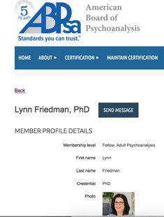 drlynnfriedman.com | psychologist | psychoanalyst | Washington DC | Lynn Friedman, Ph.D. is a board certified psychoanalyst #Americanboardofpsychoanalysis #washingtondc #psychoanalyst #psychologist #whathappenswhenyoucallforpsychotherapy Psychodynamic Psychotherapy, Public Profile, Washington Dc, Ph, Boards, American, Planks
