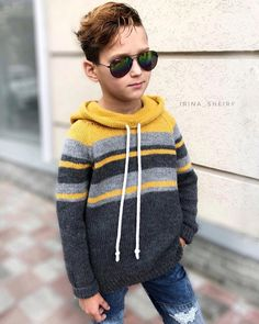 Image may contain: 1 person, sunglasses and closeup Knitting Patterns Boys, Knitting For Kids, Handmade Clothes, Diy Clothes, Baby Boy Dress, Knitted Baby Clothes, Crochet Jacket, Ethical Clothing, Baby Sweaters