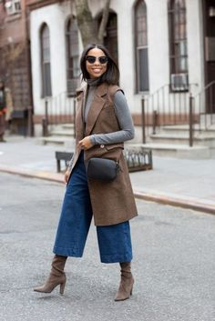 With gray turtleneck, brown long vest, boots and black bag - Styleoholic