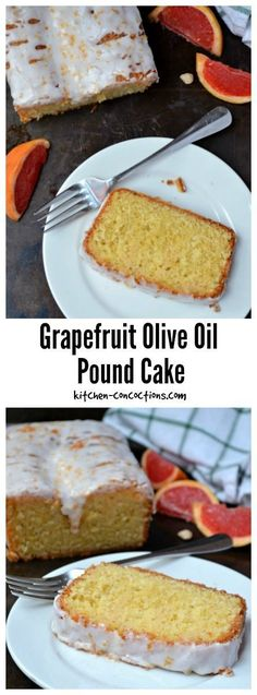 Grapefruit Olive Oil Pound Cake Recipe - This dense homemade Grapefruit Olive Oil Pound Cake has a light citrusy flavor only achievable from fresh Ruby Red Grapefruit! A delightful dessert recipe perfect for spring dinner parties or Easter brunch! Grapefruit Pound Cake Recipe, Grapefruit Recipes Dessert, Dessert Cake Recipes, Pound Cake Recipes, Cupcake Recipes, Cupcake Cakes, Grapefruit Juice, Pound Cakes, Cupcakes