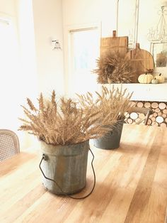 Little Farmstead: Farmhouse Decorating for Early Fall {Wheat and Galvanized Buckets}