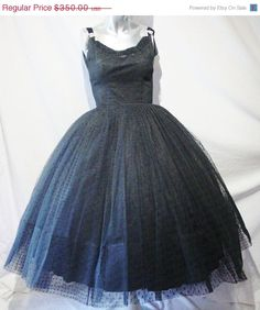 ON SALE Vintage 1940's 50's Black Tulle Dress with Swiss Dots by RAPPI. $315.00, via Etsy.