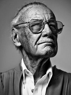 Stan Lee by Les Ravageurs Black And White Portraits, Black And White Photography, Old Man Portrait, Man Lee, Old Faces, Foto Art, Face Expressions, Celebrity Portraits, Interesting Faces