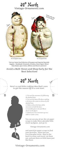 Free Victorian snowman Christmas ornament - just print it out and assemble!