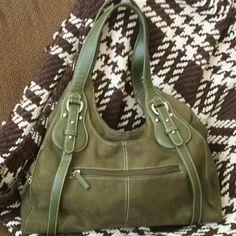 "Large St. John's Bay shoulder bag Large forest green suede feel shoulder bag by St. John's Bay.  Lots of pockets, clean inside and out.  Measures 14"" x 9"" X 4"" across bottom. St. John's Bay Bags Shoulder Bags"