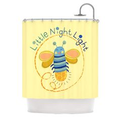 "Jane Smith ""Little Night Bug"" Yellow Blue Shower Curtain 