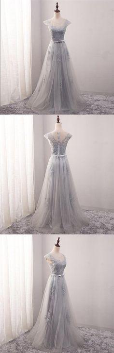 Cap Sleeve Scoop Neckline Gray Lace Evening Prom Dresses, Popular Lace – SposaDresses