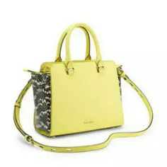 """NWT Rebecca Minkoff Mini Avery Tote Bag NWT Rebecca Minkoff Avery Mini MAB Tote in RARE yellow with black & white python embossed side insets.  Structured leather Rolled handles. Optional adjustable crossbody strap.  Signature extended zip pulls. Top zip closure. Exterior zip pocket. Interior zip, wall and cell-phone pockets. Protective metal feet. Dust bag.  Measurements: 7"""" H x 8"""" W x 3.75"""" D - 3.75"""" handle drop & 21-23"""" strap drop.  TRADE value Higher. Thanks! Rebecca Minkoff Bags Totes"""