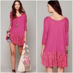 HOST PICK Free People tunic w/lace trim. Free People long tunic with lace trim. This is in the magenta color as photod here. New and never worn. Original listing price = $80 Free People Tops Tunics