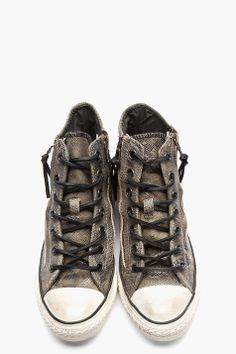 CONVERSE BY JOHN VARVATOS Dark Grey Snakeskin Suede Zippered Converse X All Star High-Top Sneakers