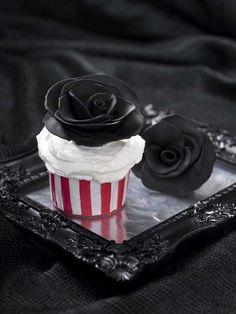 black flower cupcake