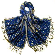 Etole pashmina bleu pois et volutes - Etole/Etole pashmina - Mes Echarpes http://www.mesecharpes.com/etole/etole-pashmina/etole-pashmina-bleu-pois-et-volutes.html