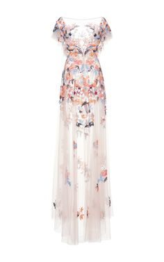 Zuhair Murad Multicolor Embroidered Tulle Gown