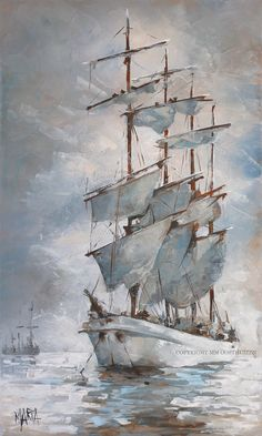 Strings of Grace on Holy Waters Original Fine Art Painting by Maria Magdalena Oosthuizen. Seascape Paintings, Easy Paintings, Boat Illustration, Boat Painting, Fabric Painting, Sailboat Art, Learn Art, Art Graphique, Ship Art