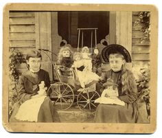 2 Girls 6 Dolls Antique Doll in Swing Vintage Baby Carriage Antique Photo | eBay