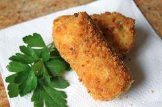 Potato Croquettes With Mashed Potatoes, Eggs, Fresh Parsley, Salt, Pepper, Flour, Eggs, Dry Bread Crumbs, Oil