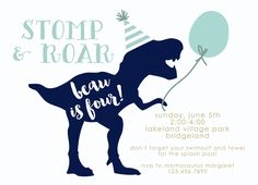 Simple Stomp and Roar Dinosaur Birthday Invitations Navy and Blue Balloon-FREE SHIPPING or DIY printable by PenandParcel on Etsy https://www.etsy.com/listing/291761319/simple-stomp-and-roar-dinosaur-birthday
