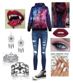 """""""Untitled #58"""" by kittyxd ❤ liked on Polyvore featuring J Brand, Converse, Palm Beach Jewelry, emo, scene and piercings"""
