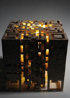 Internally-lit cut-wood QR code stool by German designer Elena Belmann. Maybe the first time a QR code would actually be used in the real world.