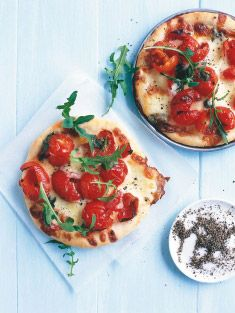 cherry tomato and bocconcini pizzas with basic pizza dough recipe