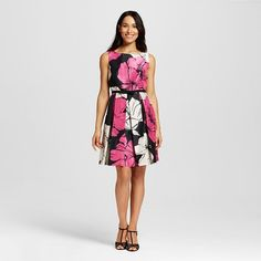 Women's Belted Floral Fit and Flare Dress - Melonie T : Target