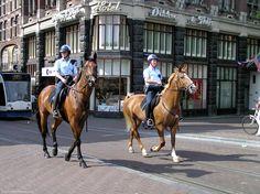 Amsterdam police on horseback, patrolling Leidsestraat