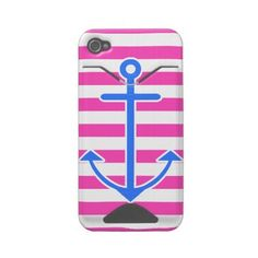 Pink Nautical Blue Anchor Iphone 4 Case by OrganicSaturation