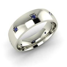 Round Sapphire Ring in 14k White Gold