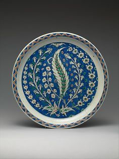 Dish with Growing Saz and Floral Design   The Met