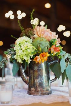 #Centerpiece | Rustic Elegance | See the wedding on #SMP: http://www.stylemepretty.com/little-black-book-blog/2013/03/05/charleston-wedding-from-ooh-events-and-hyer-images | Hyer Images