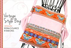 Ribbon and Faux Suede Soft-Touch Shoulder Bag with Renaissance Ribbons | Sew4Home