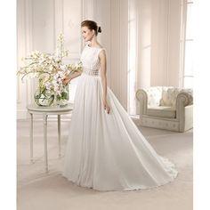 Bonny Vintage Sweep A-line Boat Neckline Chiffon Embroidery Wedding Dress - Star Bridal Apparel, #aline, #vintage, #bonny, #boatneck, #elegant, #wedding, #dress, #bridal
