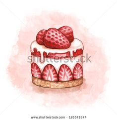 Illustration of a strawberry cream cake - stock photo