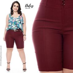 Bermuda Bengaline Plus Size Cyelma Sexy Outfits, Summer Outfits, Fashion Outfits, Curvy Girl Fashion, Plus Size Fashion, Smart Shorts, Girl With Curves, Style Guides, Casual Looks