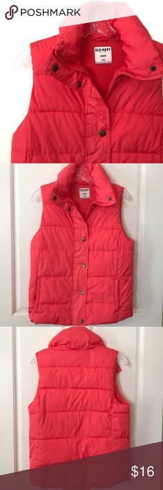 """Old Navy Puffer Vest size M An incredible color that's hard to describe - like a mix between a salmon and orange color!? Anyhow...Pre-loved and in good shape. Size M. A nice lite fleece lining, two outer pockets, all poly, recently washed.   Shoulder to hem: 23"""", pit to pit: 19"""" when snapped/zippered up.   Shop smart by maximizing your shipping $. Use the filter function and peruse my closet of over 1,000 items! Bundle and save!! Old Navy Jackets & Coats Vests"""