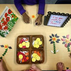 "Can you plant a rainbow? Lois Elhlert and pattern blocks 7 Likes, 1 Comments - Mrs. M Dattilo (@wonderful_wonderings) on Instagram: ""On this gloomy rainy day, we are making a rainbow of flowers with the pattern blocks inspired by…"""